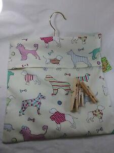 Handmade fabric peg bag laundry storage cute dogs pattern poodle staffi dog gift
