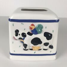 Coco Dowley Tissue Box Cover Colorful Cow Rooster Chick Ceramic Tiny Flaws