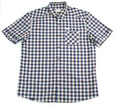 Lacoste Shirt Short Sleeve Blue Check Shirt Size 41 Medium to Large Mens RRP £99