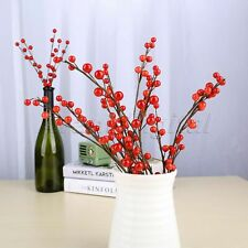 45cm Decoration Red Artificial Holly Berries Branch DIY Christmas Wreath 1/5Pcs