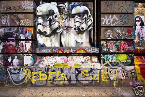 banksy v  star wars ART GRAFFITI   PRINT by ANDY BAKER poster