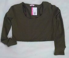 Womens Supre Size S/10 Long Sleeved Fitted Crop Top - OLIVE - BNWT