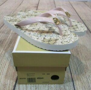 BRAND NEW Michael Kors MK Flip Flop Blossom Pink Floral Sandal Shoes Women's