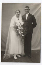 PHOTO ANCIENNE Mariage Marié Vers 1930 Fleur Couronne Costume de mariés Couple