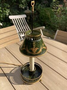 antique Vintage Painted Toleware Student Table Lamp Refurbished