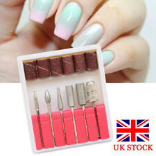 Hot 6 x Nail Art Electric Drill Bits File Kit Grinding Heads Accessories Set UK