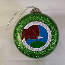 DEA Drug Enforcement Administration Green Glitter Ornament w Color Emblem
