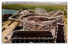 Derby Racing Roller Coaster, Lakeside Park Amusement Park, Denver, CO Postcard