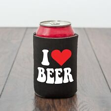 I LOVE BEER/BEER CAN COOLER/BEER LOVER/HEART/FUNNY GIFT/BBQ/NOVELTY GIFT