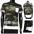 T Shirt Militaire L Camouflage Tshirt Homme Vert Blanc Manches Courtes Col rond
