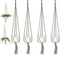 4x47'' Vintage Macrame Plant Hanger Garden Flower Pot Holder Hanging Rope Basket