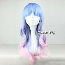Lolita Blue Purple Mixed Pink 55CM Long Curly Harajuku Women Ombre Cosplay Wig