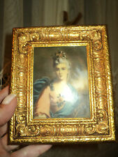Antique French Rococo Gilt Engraved Gold Frame Portrait 11,5X13,5*Convex Glass