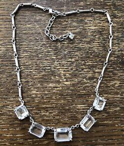 Swarovski Brand NWOT Silver Bold Multi Prong Radiant Rectangle Crystal Necklace