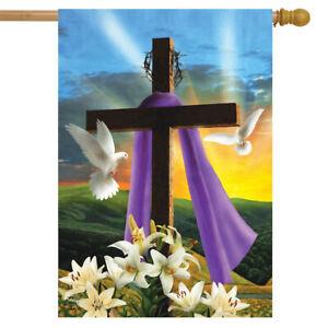 """Easter Sunrise Religious House Flag Cross Doves Lilies 28"""" x 40"""""""