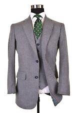 VTG Botany 500 Gray Blue Herringbone TWEED Wool 3pc Suit Jacket Pants Vest 40 R