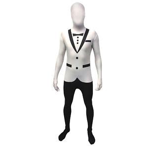 Adult Officially Licensed Morphsuit White Tuxedo Design Fancy Dress Bodysuit