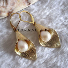 8*9mm White Freshwater Pearl Dangle Earrings D3SY U