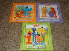 Set of 3 Sesame Street ELMO'S Learning Adventure Book Lot Counting & Alphabet