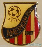 VTG Soccer Ball Sports ARYSL AMERICAN RIVER 1987 80's Hat Pin Badge Pinback