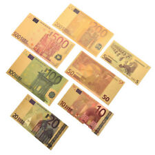 7X Euro Banknote Gold Foil Paper Money Crafts Collection Bank Note Currency  BB