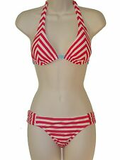 Hobie bikini set swimsuit size M red striped halter hipster 2 piece swimwear new