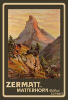Zermatt Matterhorn Schweiz Blechschild Schild gewölbt Metal Tin Sign 20 x 30 cm