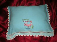 "TROPICAL SKY BLUE ""CHRISTMAS IN PARADISE"" PINK FLAMINGO ACCENT BUTTONED PILLOW"