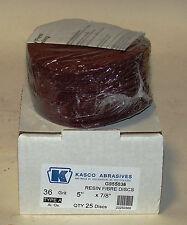 "KASCO 36 Grit 5"" X 7/8"" RESIN FIBRE DISCS BOX OF 25  G955036 Aluminum Oxide Log"
