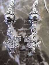 Mirror Crystal Silver Alice in Wonderland Rabbit Handcrafted Artisan Earrings