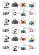 24 Photography Camera  Wafer / Rice Cupcake Topper Edible Fairy Cake Bun Toppers