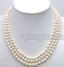"""6-7MM Natural White Round Pearl Necklace for Women 3 Strand 18-20"""" Silver clasp"""