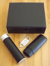 Black Leather 20 25 Count Humidor Set Two Finger Cigar Case  Tube Humidor Cutter