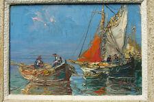 Tableau huile retour de pêche à identifier marine bateaux Postimpressionniste