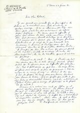 CLAUDE MENGUY (biographe SIMENON)  — LETTRE AUTOGRAPHE SIGNÉE. 1981.