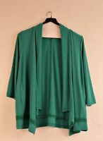 New Joan Rivers Drape Front Knit Cardigan Crochet Jade L or Black M