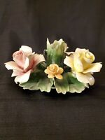 "Nuova Capodimonte candlestick holder 6"" Fine Porcelain Centerpiece Floral Roses"
