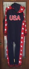Tipsy Elves Mens Jumper XL Patriotic Red White Navy Blue USA Hood Romper
