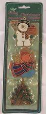 New NIP 3 Stain Glass Suncatcher Christmas Hanger/Ornament Vintage Snowman