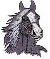 am10 Pferd Pferdekopf Aufnäher Bügelbild Patch Reiten Tier Hengst 6,5 x 8,5 cm