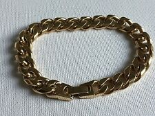 Yellow Gold Plated Curb Link Chain Bracelet Chunky Retro 7.25in 90s Power Dress