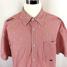 AKADEMIKS Mens 2XL Short Sleeve Button Front Red Check Shirt