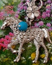 Irish Draught Horse Pendant Turquoise Lucky Clover Tack Charm Key Chain Zipper