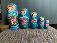 Wooden (Krakow) Poland Stacking, Nesting Dolls - Set Of 5 Hand Painted