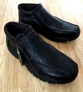 NEW Men Fur Lined Orthopaedic Diabetic Zip up Black Walk Boots Shoes Light Size