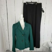 New Le Suit Two Tone Pants Suit Women's 8 Jacket Skirt Green Black Career NWT