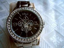 B K E WATCH FLEUR de LIS CRYSTAL SURROUND FACE STAINLESS STEEL BAND BEAUTIFUL