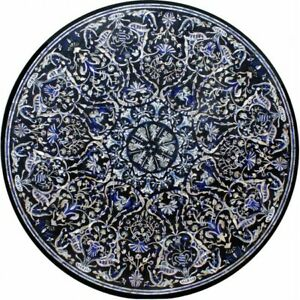 "42"" Black Marble dining Top Table Pietra Dura Inlay Handmade Art Home Decor B654"