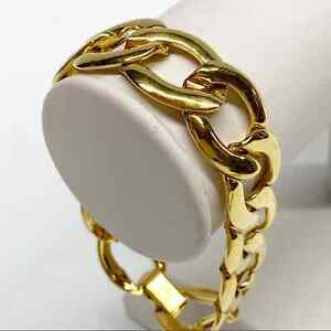 "Vintage Napier signed gold tone chunky chain link bracelet 7"""