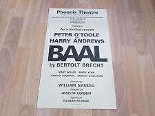 Peter O'TOOLE in BAAL by Bertolt Brecht Original PHOENIX Theatre Poster